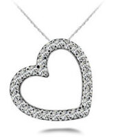 Diamond Heart Necklace 14K White Gold .66cttw Model SP39