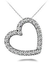 Diamond Heart Necklace 14K White Gold .66cttw Model SP39