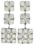 Diamond Earrings Pavé Square Drop 18K White Gold 2.12cttw Model NCE462