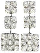 Diamond Earrings Pavé Square Drop 18K White Gold 2.12cttw Model NCE462
