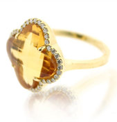 Diamond & Citrine Ring 18K Yellow Gold .96cttw Model NCR1507