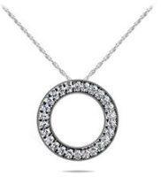 Diamond Circle Necklace 14K White Gold 1.10cttw Model SP29