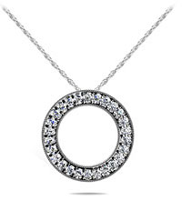 Diamond Circle Necklace 14K White Gold 1.10cttw Model SP29