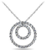 Diamond Double Circle Necklace 14K White Gold 1.09cttw Model SP33