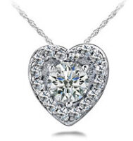 Diamond Heart Necklace 14K White Gold .50cttw Model SP52