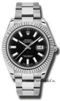 Rolex SS 18K White Gold Model 116334BKIO